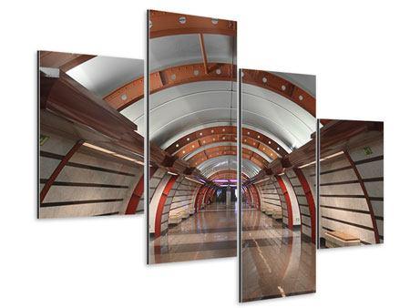 Aluminiumbild 4-teilig modern U-Bahn Station