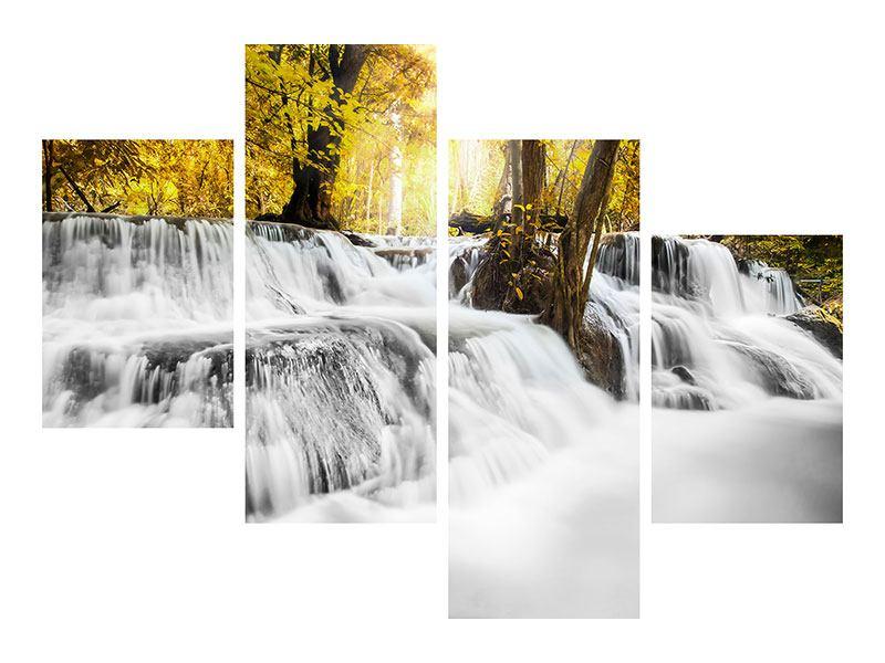 Aluminiumbild 4-teilig modern Wasser in Aktion