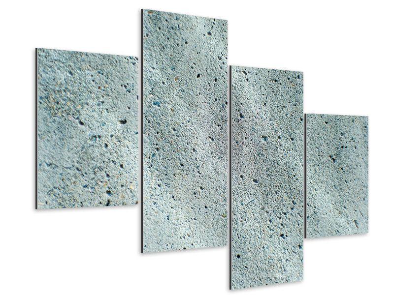Aluminiumbild 4-teilig modern Beton in Grau