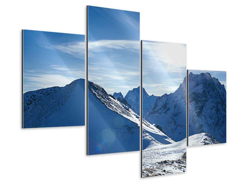 Aluminiumbild 4-teilig modern Der Berg im Schnee