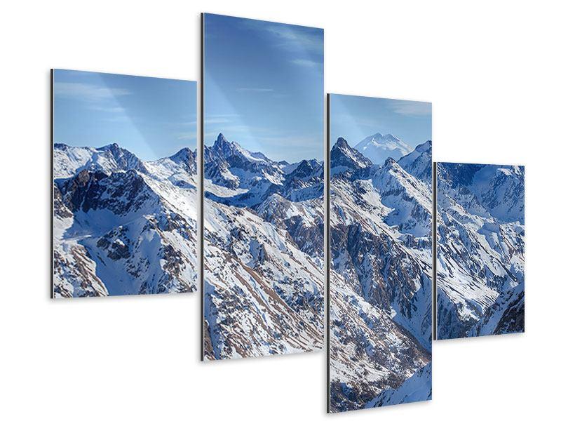 Aluminiumbild 4-teilig modern Gipfelspitzen