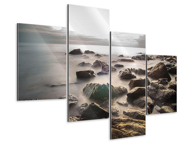 Aluminiumbild 4-teilig modern Steine am Strand