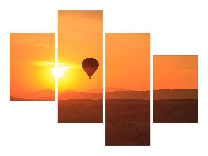 Aluminiumbild 4-teilig modern Heissluftballon bei Sonnenuntergang