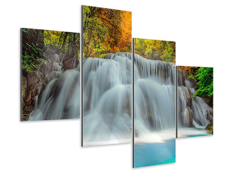 Aluminiumbild 4-teilig modern Fallendes Gewässer
