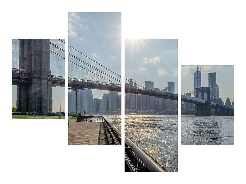 Aluminiumbild 4-teilig modern Brooklyn Bridge