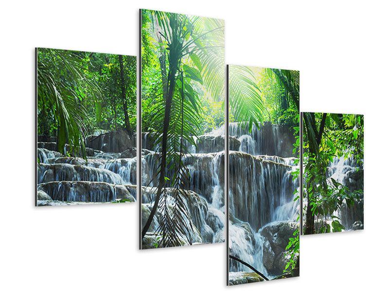 Aluminiumbild 4-teilig modern Wasserfall Agua Azul