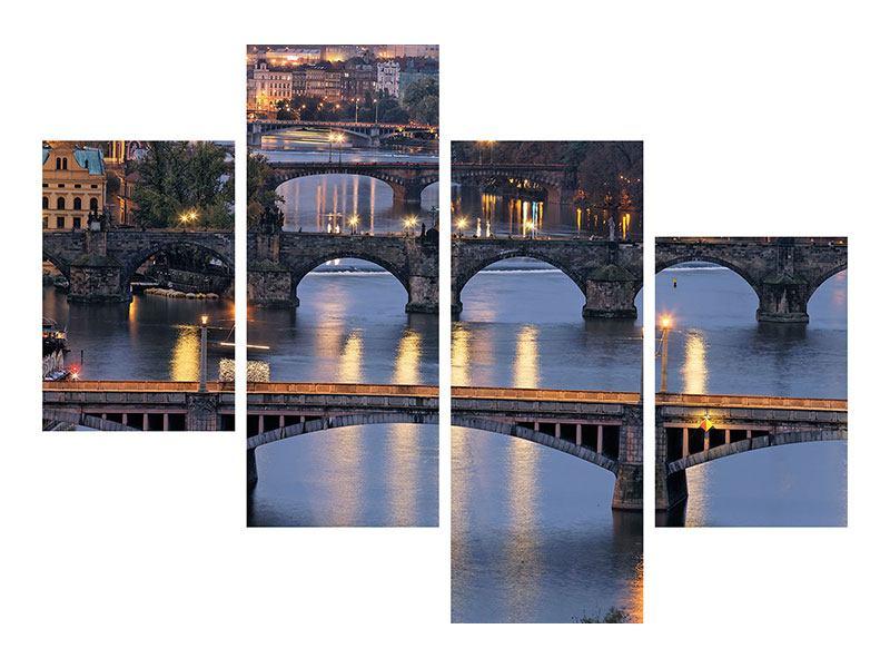 Aluminiumbild 4-teilig modern Brücken in Prag