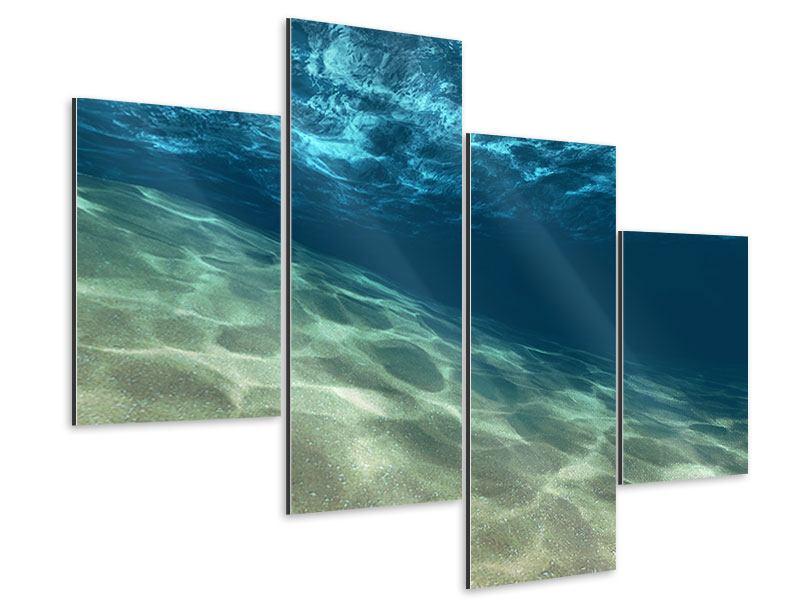 Aluminiumbild 4-teilig modern Unter dem Wasser
