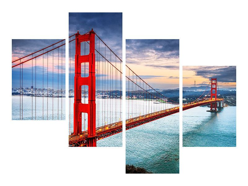 Aluminiumbild 4-teilig modern Der Golden Gate Bridge bei Sonnenuntergang