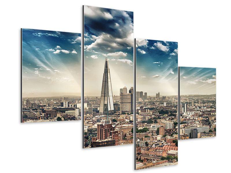Aluminiumbild 4-teilig modern Skyline Über den Dächern von London
