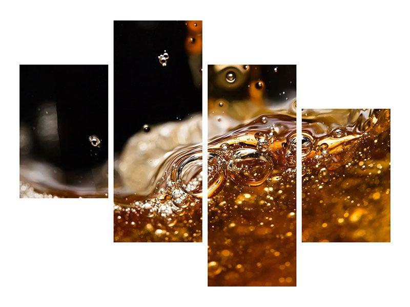 Aluminiumbild 4-teilig modern Cognac