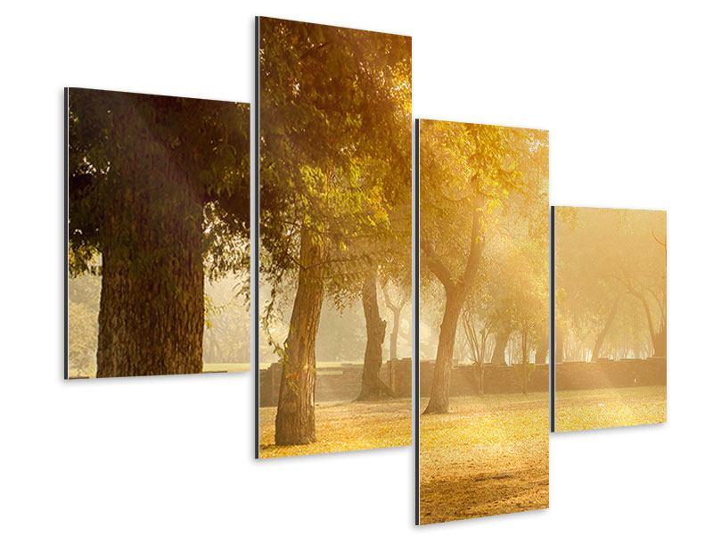Aluminiumbild 4-teilig modern Romantik unter Bäumen