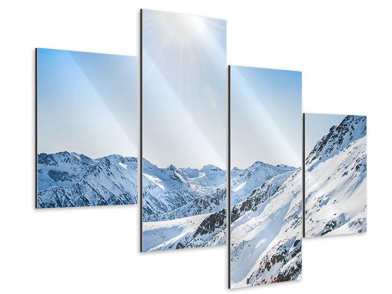 Aluminiumbild 4-teilig modern Bergpanorama im Schnee