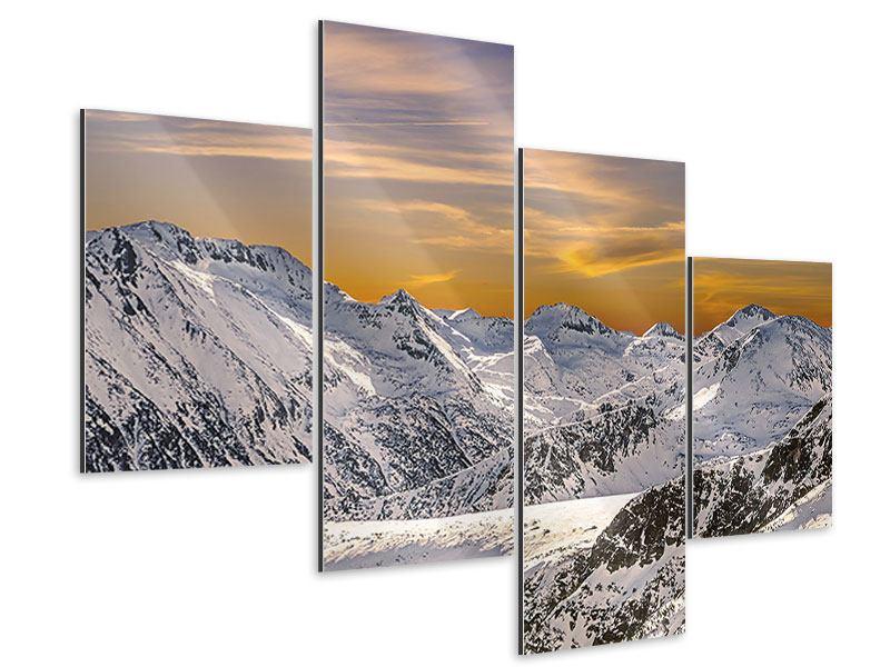 Aluminiumbild 4-teilig modern Sonnenuntergang in den Bergen