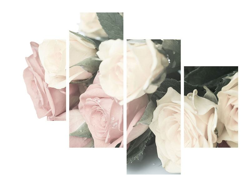 Aluminiumbild 4-teilig modern Rosenromantik