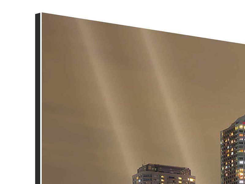 Aluminiumbild 4-teilig modern Skyline Tokio in der Nacht