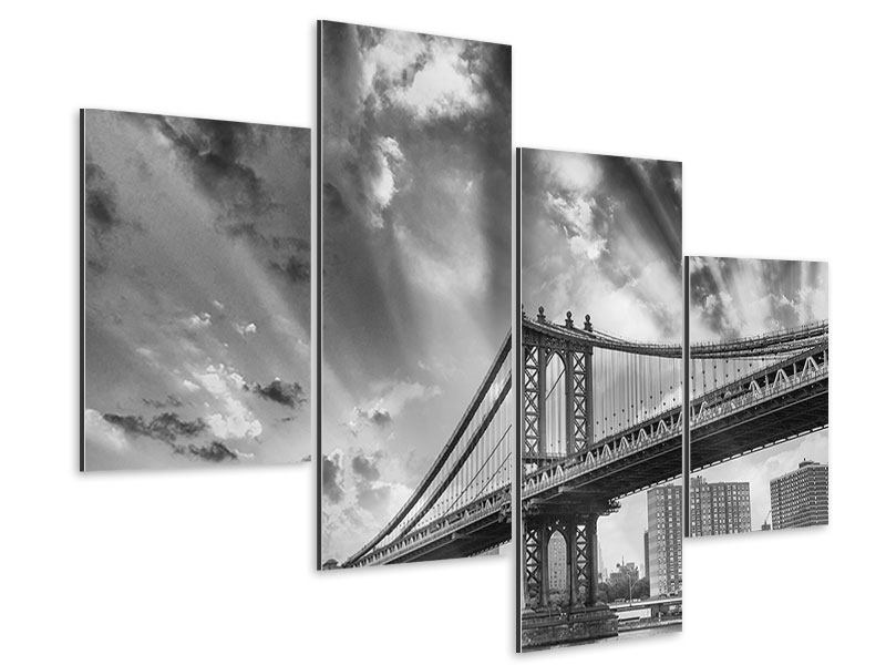 Aluminiumbild 4-teilig modern Manhattan Bridge