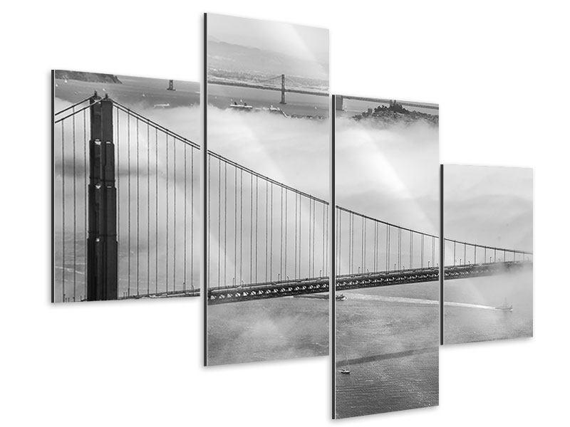 Aluminiumbild 4-teilig modern Golden Gate Brücke