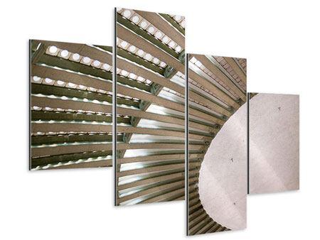 Aluminiumbild 4-teilig modern Abstraktes Rad