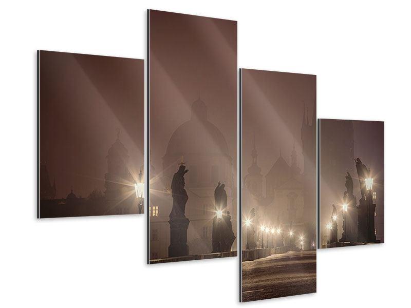 Aluminiumbild 4-teilig modern Die Karlsbrücke bei Nacht