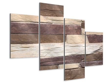 Aluminiumbild 4-teilig modern Designer-Mauer