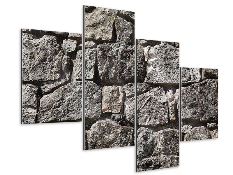 Aluminiumbild 4-teilig modern Grosses Mauerwerk