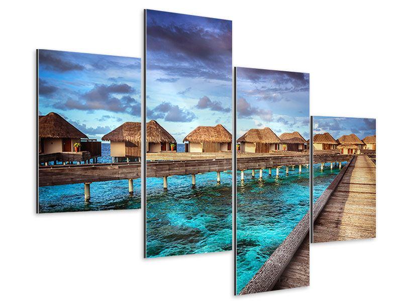 Aluminiumbild 4-teilig modern Traumhaus im Wasser