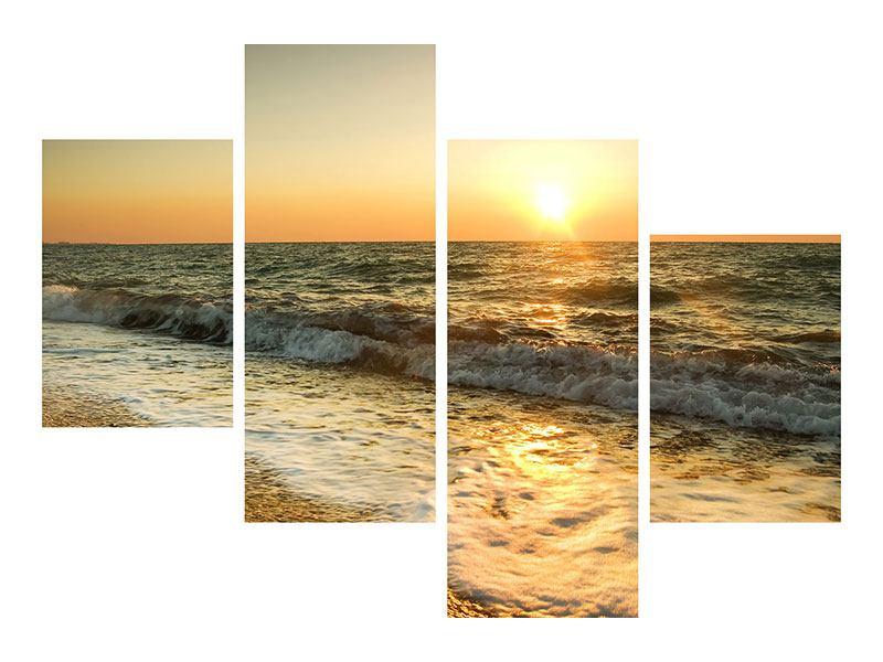 Aluminiumbild 4-teilig modern Sonnenuntergang am Meer