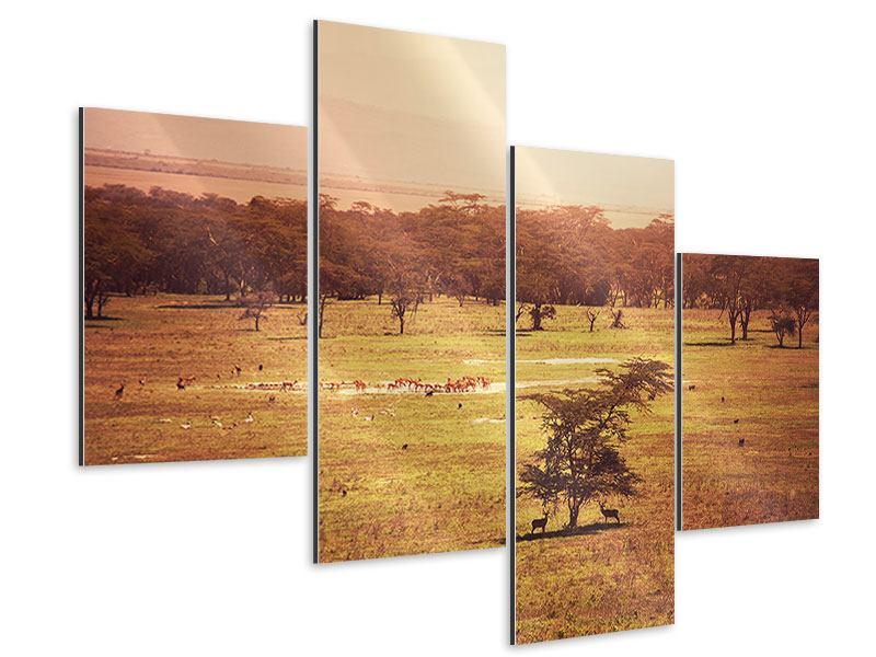 Aluminiumbild 4-teilig modern Malerisches Afrika