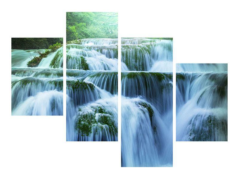 Aluminiumbild 4-teilig modern Gigantischer Wasserfall