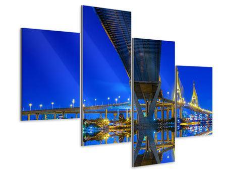 Aluminiumbild 4-teilig modern Bhumiboll-Brücke