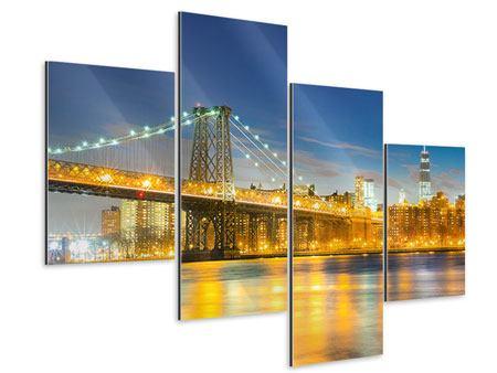 Aluminiumbild 4-teilig modern Brooklyn Bridge bei Nacht