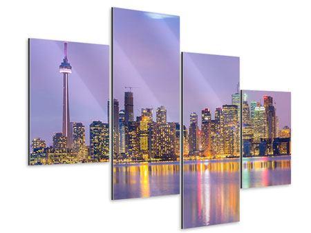 Aluminiumbild 4-teilig modern Skyline Toronto bei Nacht