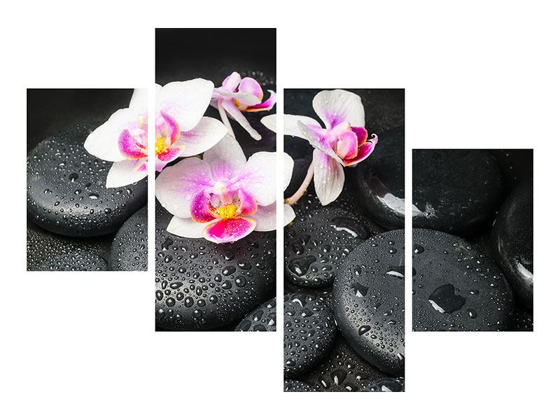 Aluminiumbild 4-teilig modern Feng-Shui-Orchidee Zen