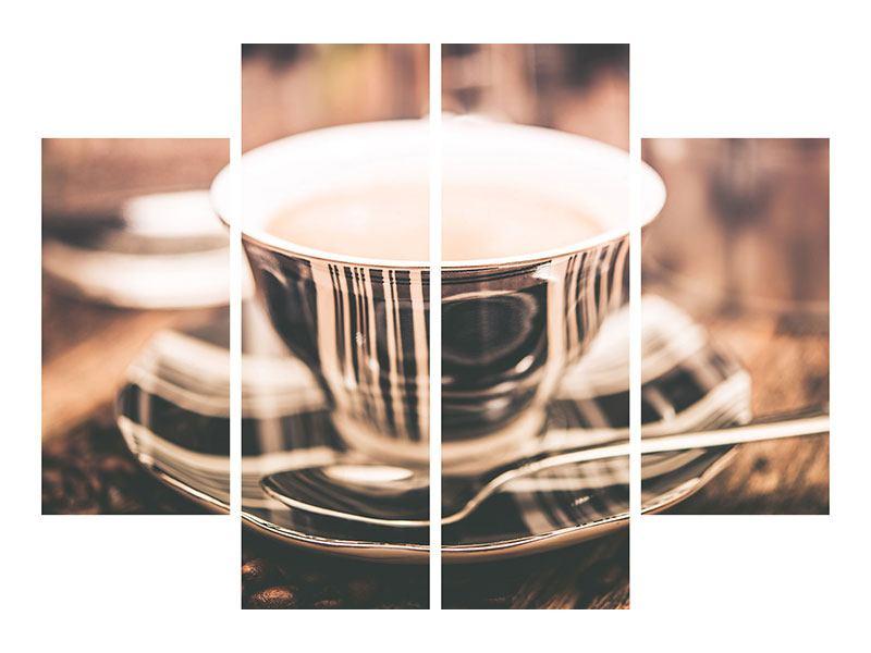 Aluminiumbild 4-teilig Der Kaffee ist fertig