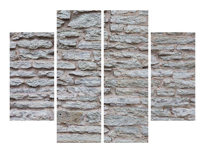 Aluminiumbild 4-teilig Steinmauer