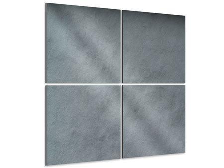 Aluminiumbild 4-teilig Dunkelgraue Wand
