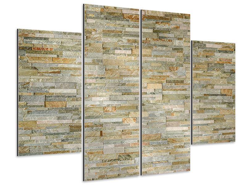 Aluminiumbild 4-teilig Edle Steinmauer