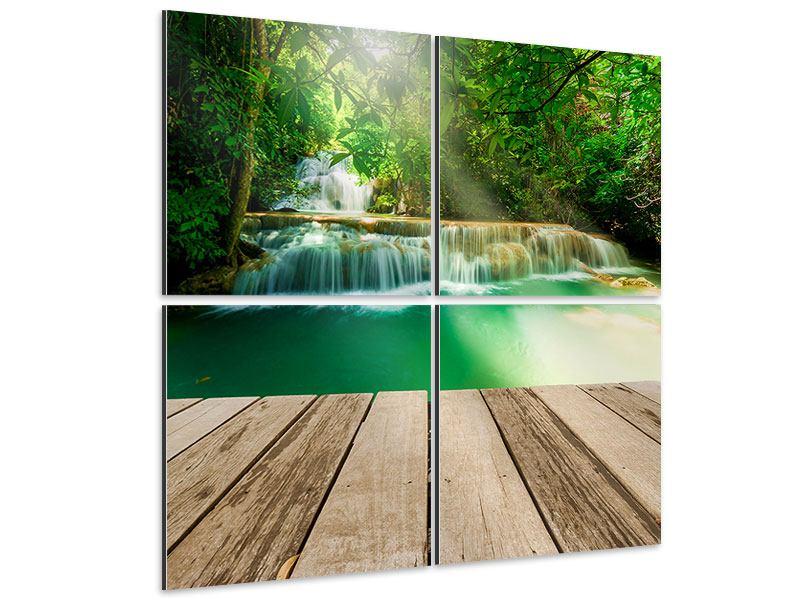 Aluminiumbild 4-teilig Wasserfall Thailand