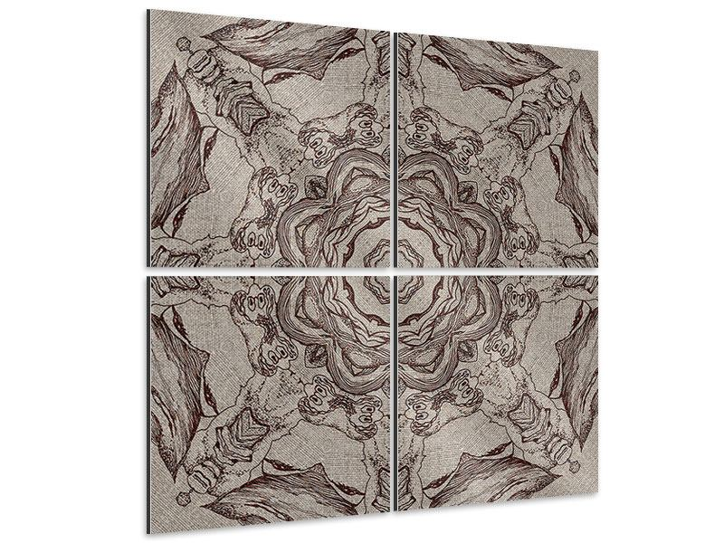 Aluminiumbild 4-teilig Retro-Style