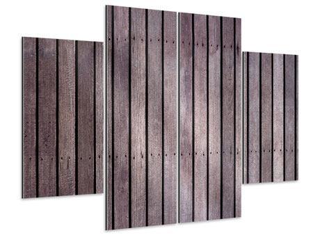 Aluminiumbild 4-teilig Holzwand