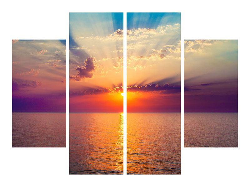 Aluminiumbild 4-teilig Mystischer Sonnenaufgang