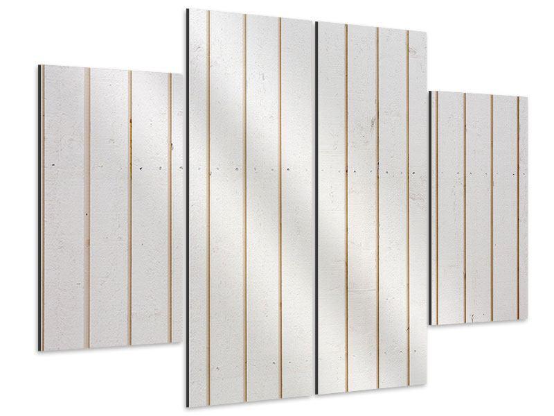 Aluminiumbild 4-teilig Mediterranes Holz