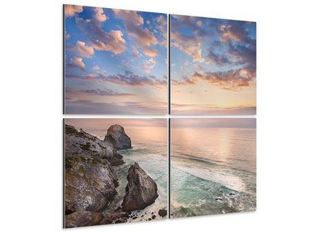 Aluminiumbild 4-teilig Romantischer Sonnenuntergang am Meer