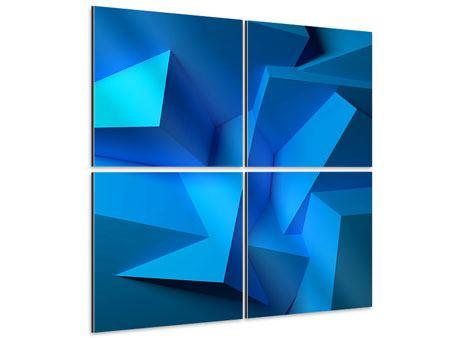 Aluminiumbild 4-teilig 3D-Abstraktion