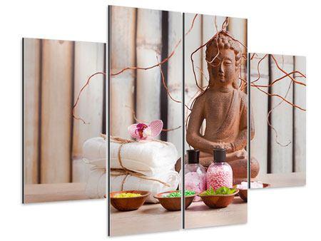 Aluminiumbild 4-teilig Buddha + Wellness