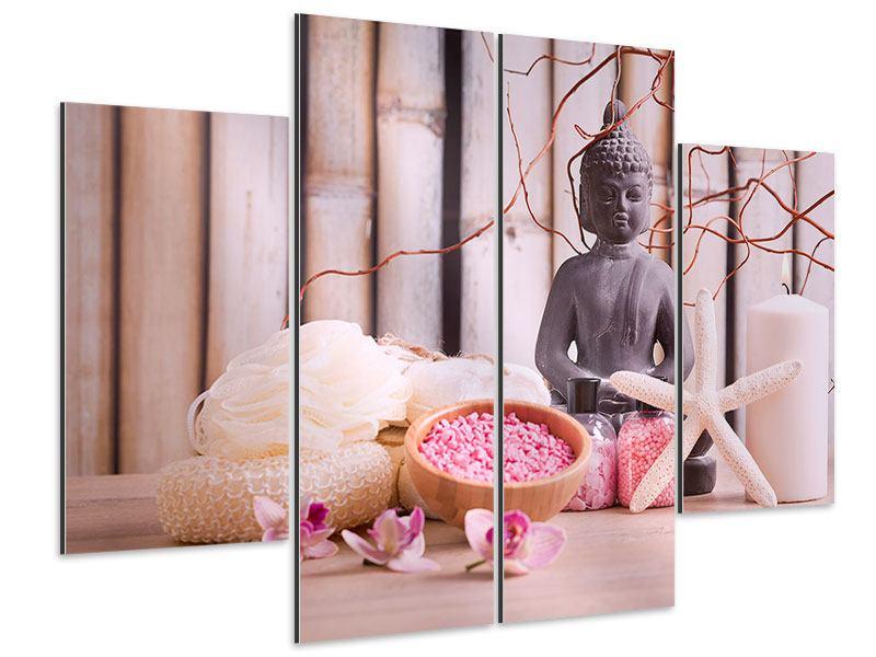 Aluminiumbild 4-teilig Spa + Buddha