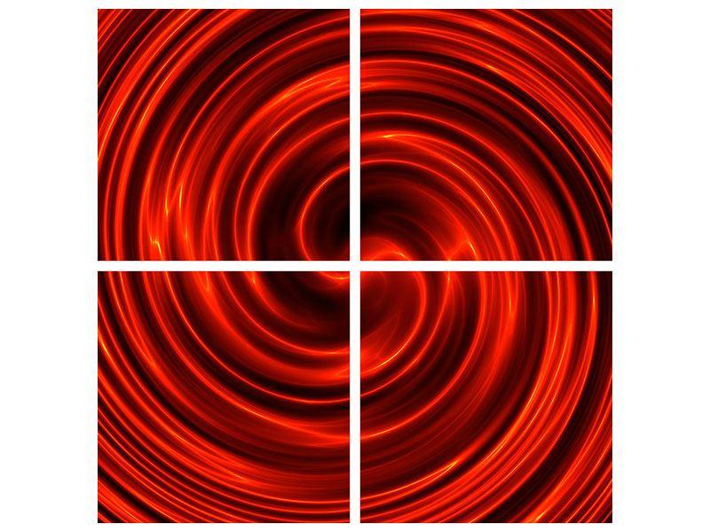 Aluminiumbild 4-teilig Abstrakte Rote Wirbel