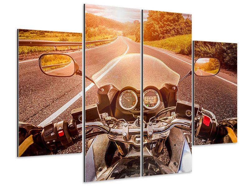 Aluminiumbild 4-teilig Motorrad-Tour