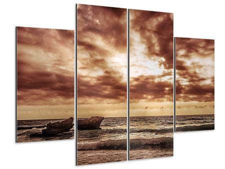 Aluminiumbild 4-teilig Meeresrauschen